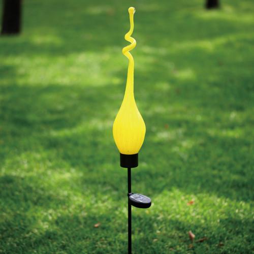 Solar Viz Glass Twist Pod Stake Yellow - 44 inch