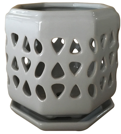 Glazed Ceramic Cadence Orchid Pot Grey - 6 inch