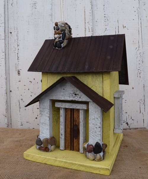 Birdhouse with Stone & Tin Roof