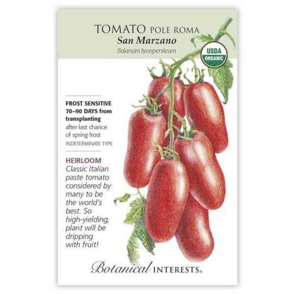 San Marzano Roma Pole Tomato Seeds Organic Heirloom