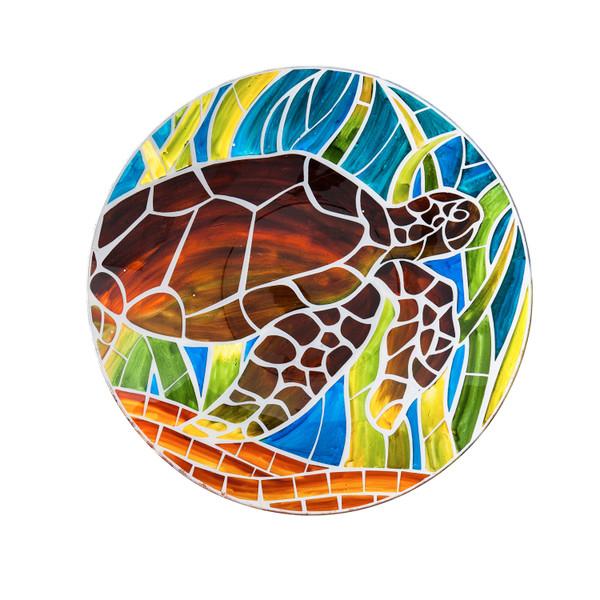 Glass Bird Bath, Art Nouveau Tortoise - 18 inch