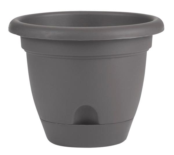 Bloem Lucca Planter Charcoal Plastic - 12 inch