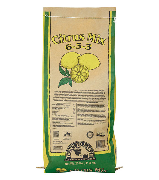 Down To Earth Citrus Mix 6-3-3 Fertilizer - 25 lb
