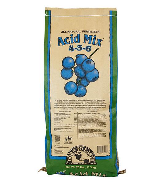 Down To Earth Acid Mix 4-3-6 Fertilizer - 25 lb