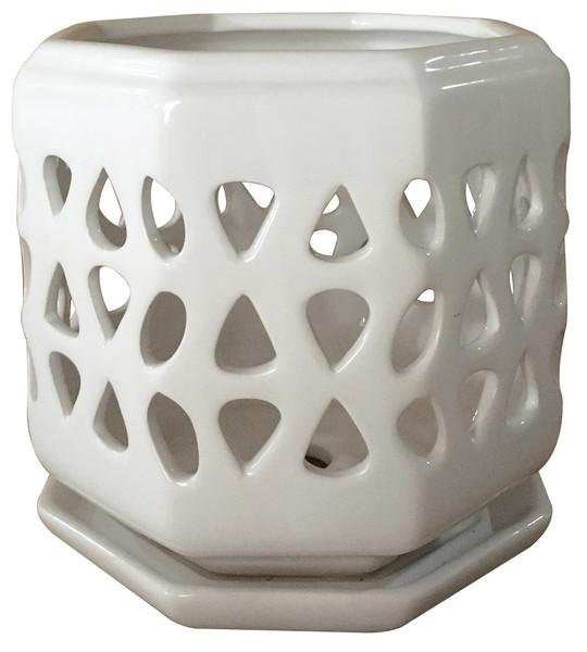 Glazed Ceramic Cadence Orchid Pot White - 6 inch