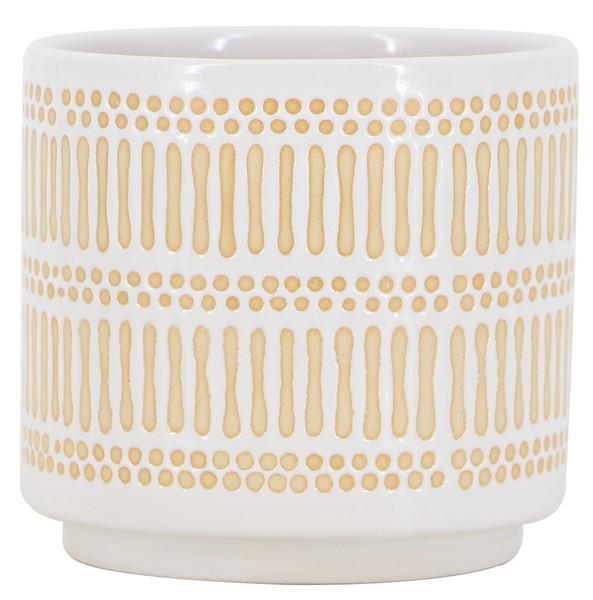 Glazed Ceramic Abacus Planter White/Natural - 4.5 inch