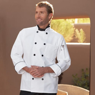 Classic Black Button Chef Coat with Black Piping - Clearance