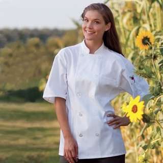 Classic Short Sleeve Spun Polyester Chef Coat with Mesh Back - Clearance