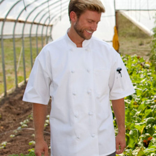 Classic Knot Button Short Sleeve Chef Coat with Mesh Back - Clearance