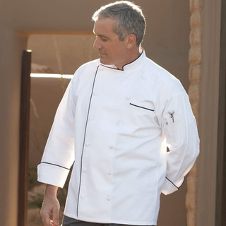 Executive 12 Cloth Covered Button Chef Coat with Contrasting Piping - Clearance