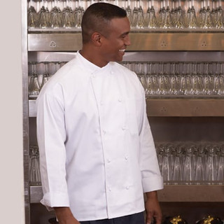 Classic Crossover Collar Knot Button Chef Coat - Clearance