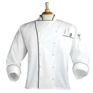 Executive 12 Hand Rolled Button Egyptian Cotton Chef Coat with Black Piping - Clearance