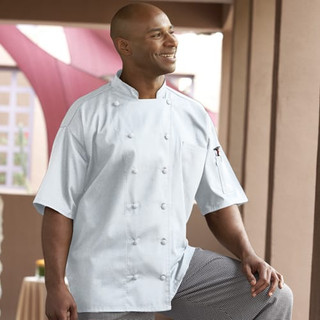 Executive 12 Cloth Covered Button Short Sleeve Chef Coat with Mesh Back - Clearance