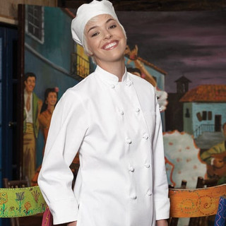 Women's Knot Button Chef Coat - Clearance