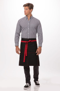Wide Half Bistro Apron with Contrasting Tiesby Chef Works