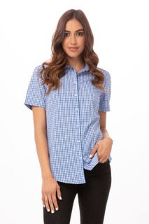 Womens Modern Gingham Short Sleeve Dress Shirtby Chef Works