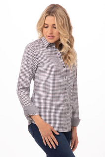 Womens Modern Gingham Long Sleeve Dress Shirtby Chef Works