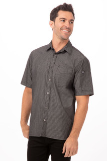 Detroit Striped Short Sleeve Denim Shirtby Chef Works