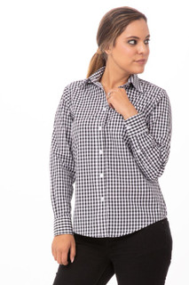 Womens Gingham Dress Shirtby Chef Works