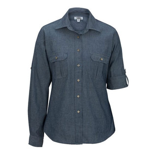 Chambray Roll Up Sleeve Blouse by Edwards