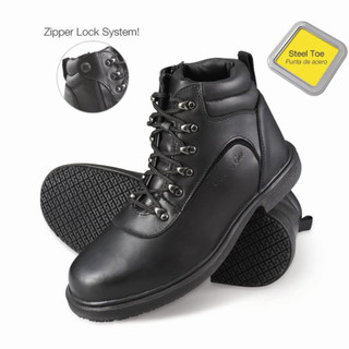 Men's Slip-Resistant Steel Toe Zipper Work Boots