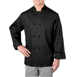 Long Sleeve Cloth Knot Button Chef Jacket by ChefWear