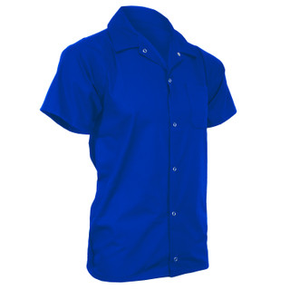 Royal Blue Short Sleeve Button Front Utility Shirt