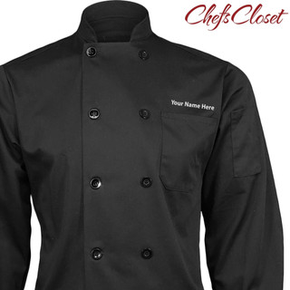 ChefsCloset Text Embroidered Long Sleeve 10 Button Chef Coat