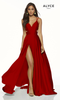 Alyce 60453,Sleek formal and sexy formal prom dress in style Alyce 60453 with long satin chiffon material. This dress features cutout sides and back, it also features a side slit - shop prom-avenue   Available in Purple,Diamond White Black Red, Antique Those, Blush, Limoncello