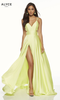 Sleek formal and sexy formal prom dress in style Alyce 60453 with long satin chiffon material. This dress features cutout sides and back, it also features a side slit - shop prom-avenue   Available in Purple,Diamond White Black Red, Antique Those, Blush, Limoncello