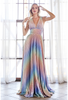 CD CW223,This is one of a kind dress with A-line pleated skirt, deep V neckline and a sexy criss cross open back in metallic fabric- shop prom avenue  Available in Multi as Shown