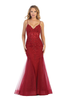 Get their attentions on the red carpet with this sexy mermaid silhouette prom gown in style L 7575L featuring V neckline - shop prom avenue   Available in Burgundy, Rose Pink