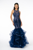 Long beaded and embellished mermaid party dress in style GLS GL1822 featuring a scoop neckline and fitted bodice- shop prom avenue  Available in Navy, GLS GL1822