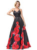 DQ 2843,Red and black print dress lady like sophisticated long prom dress with vibrant floral design and open lace up back, the dress also features V neckline and spaghetti straps - shop prom avenue   Available in Red- Black Print as Shown