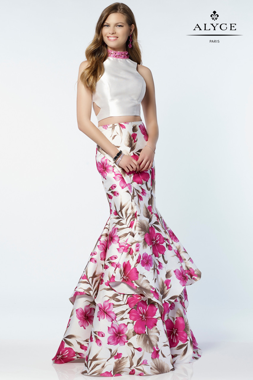 9937c40198 Magenta Floral Print Two Piece Gown by Alyce 6799
