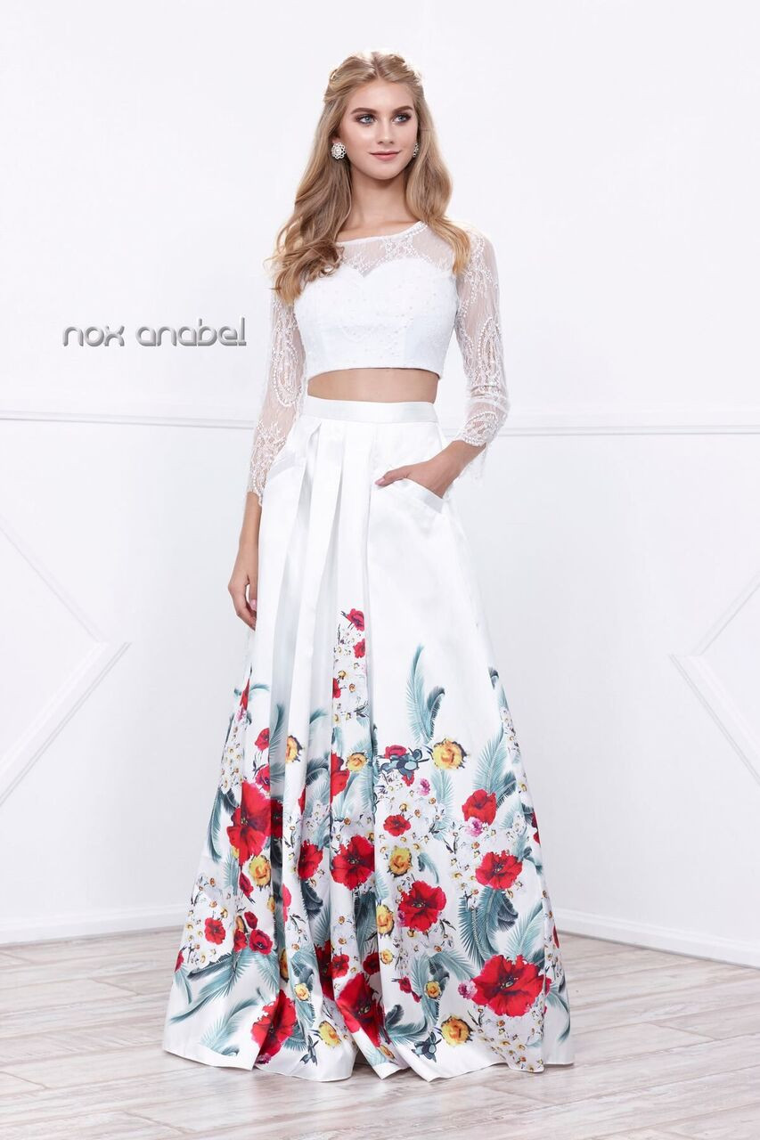 957d5e100c4 Two Piece Floral Print Prom Gown 8353