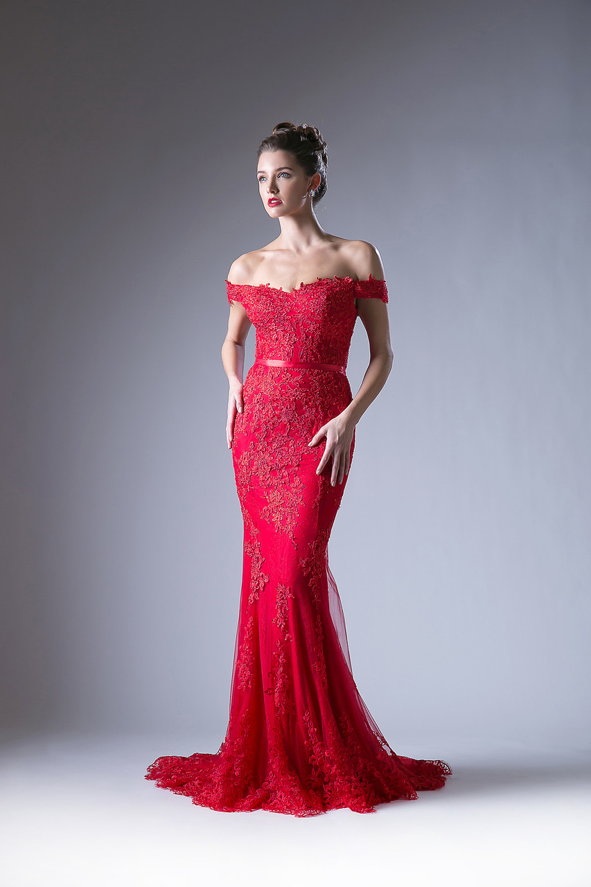 59bd5c0a80d Off Shoulder Red Lace Evening Gown