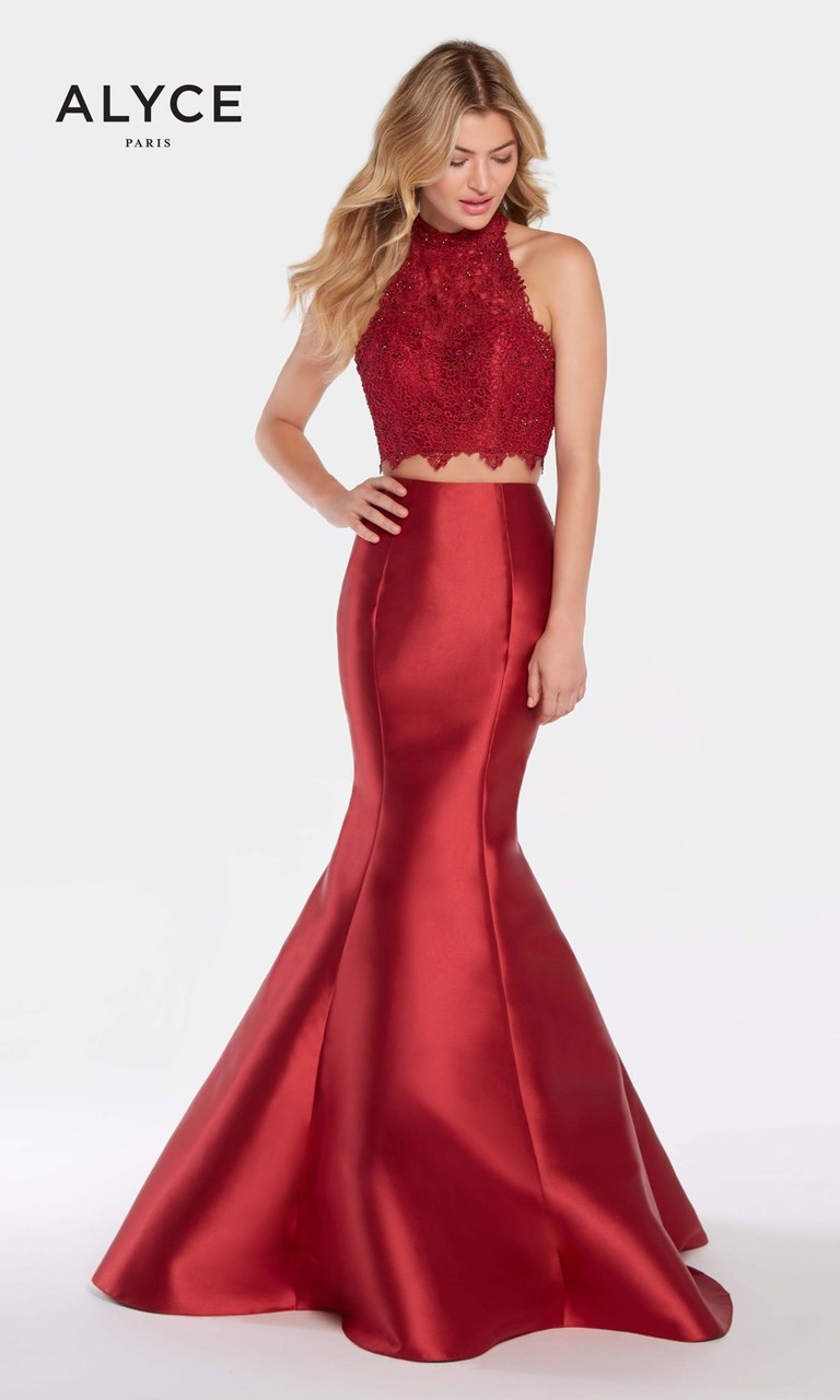 3da53d1c179224 Lace Crop Top Two Piece Gown by Alyce 60057