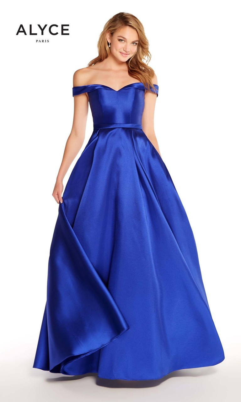 Alyce 60111  Off The Shoulder Ball Gown Royal