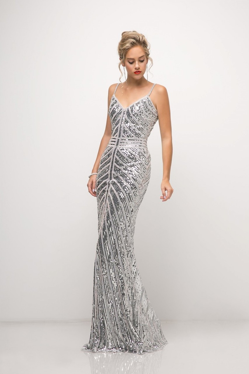 7d989d61c66 UK025 Silver Beaded Sheath Gown