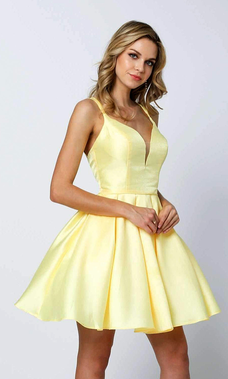 e1b4bd3ecdd98 Yellow Short Dress Style 827 with Bow