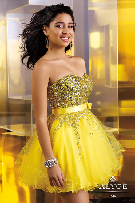Alyce Paris 3549, 3549, homecoming dress, yellow dress, sweetheart neckline, prom avenue, sweet 16