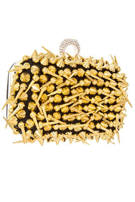 Introducing, chic- one of a kind gold spike metal clutch bag with one ring rhinestone- shop prom-avenue   Length: 6 inches  Width 2 inches  Height: 4 inches  Lead and Nickel Compliant product