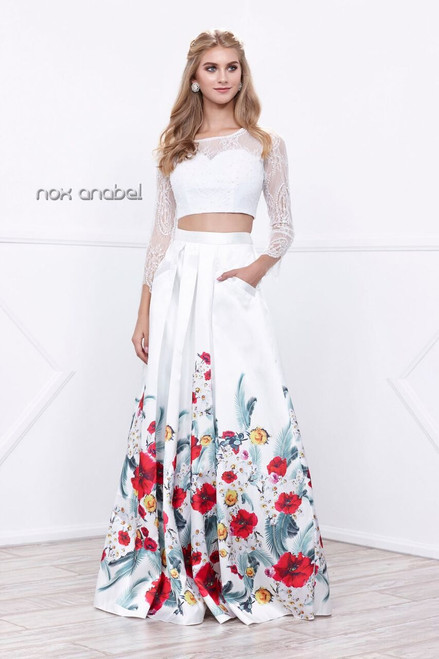 Two Piece Floral Print Prom Gown