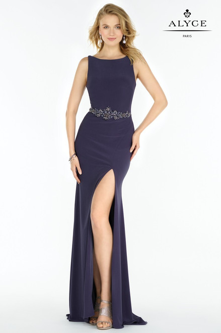 Alyce Paris 1215 Jersey Gown with Side Slit