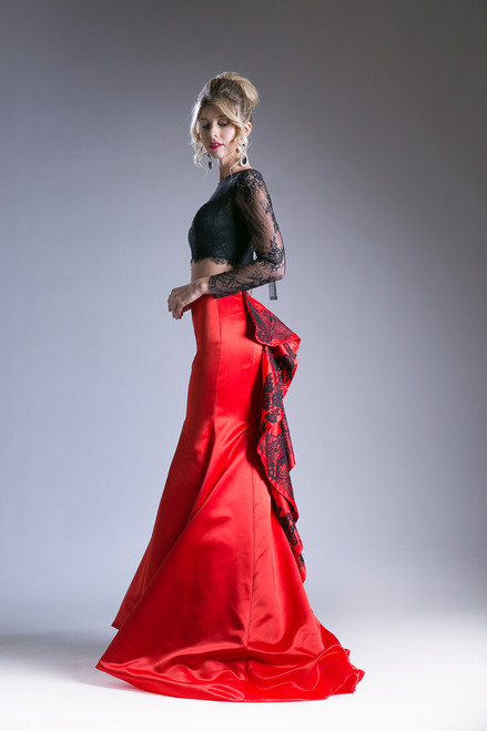 Black and Red Two Piece Prom Dress