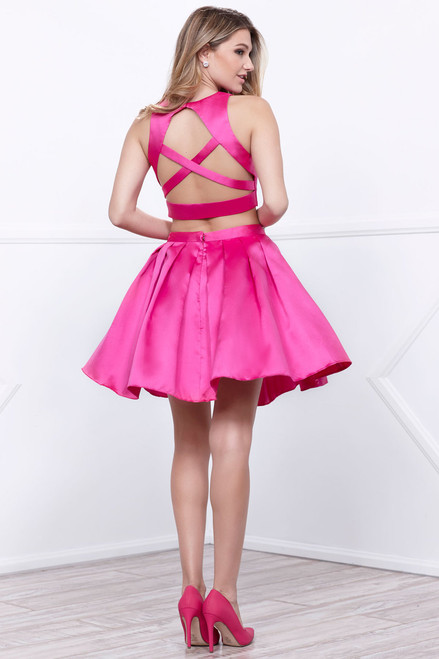This two piece homecoming dress style NA 6293, features a criss cross straps on the back with a matching skirt - shop prom-avenue   Available in Fuchsia and Turquoise