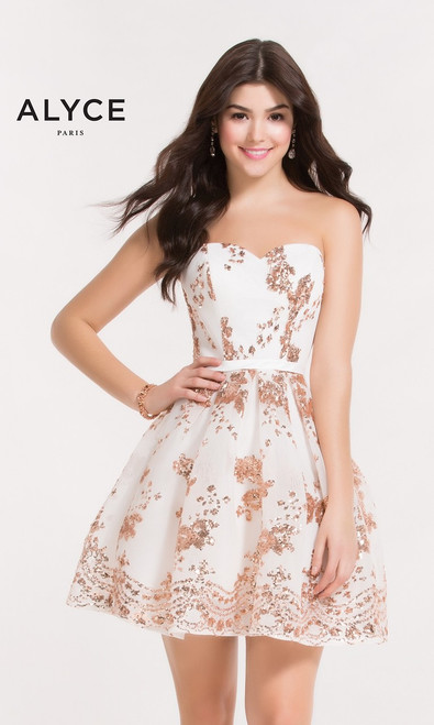 Diamond White short homecoming dress by Alyce Paris 2650 featuring a sweetheart neckline and sequin print - shop prom-avenue