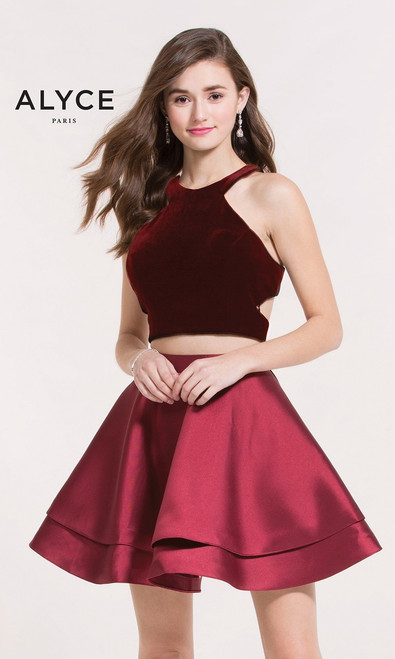Two piece red velvet homecoming two piece dress by Alyce Paris 2648 featuring a layered skirt and a halter top with sexy racer back - shop prom-avenue   Available in Wine Red