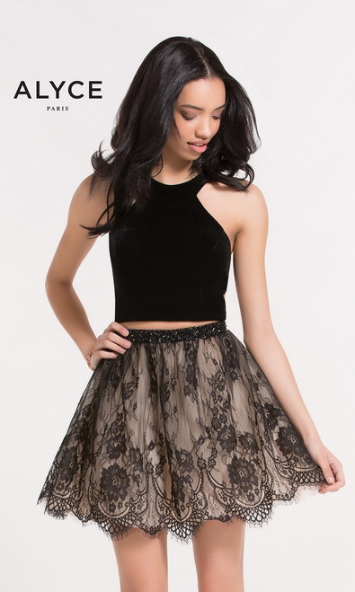 Two piece short lace homecoming dress by Alyce 2646 featuring a lace skirt with a sexy racer back and a halter top - shop prom-avenue   Available in Black/Nude, Black/Cherry, Navy Blue/Nude, Dark Mauve/Rosewater Pink